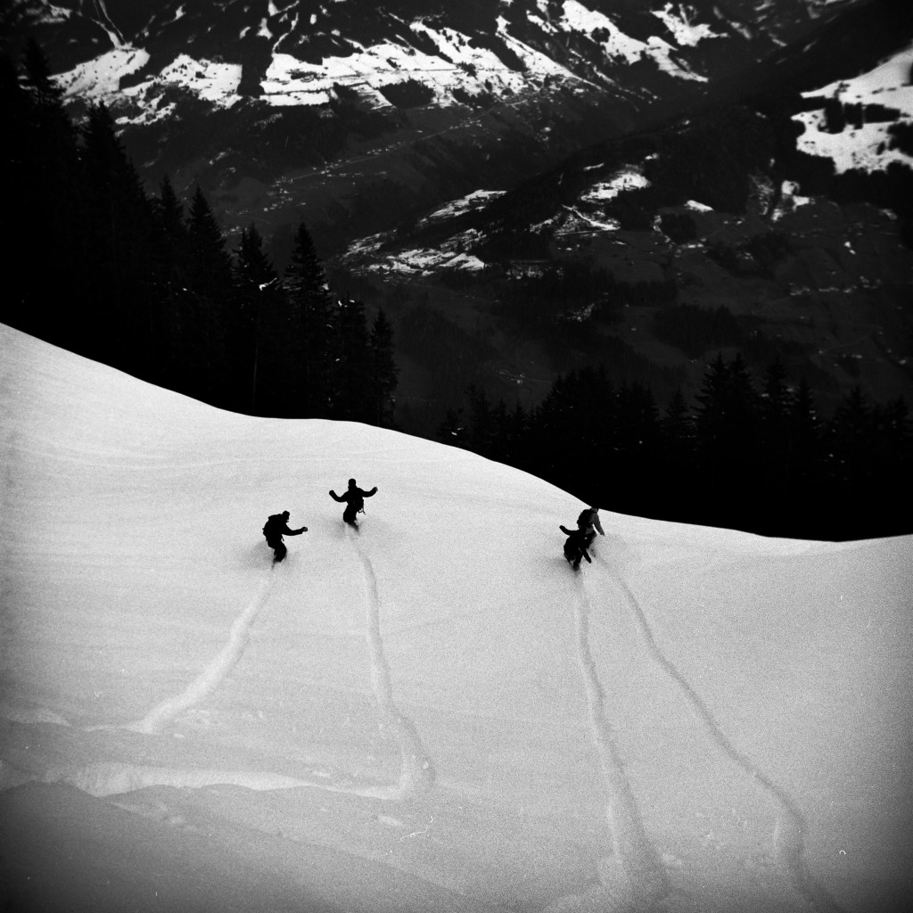Riding pow with your friends is awesome.